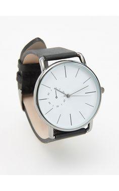 Zegarek ze skórzanym paskiem, Walentynki - dla Niego, czarny, RESERVED
