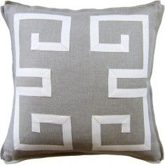 Ryan Studio Greek Key Fretwork Pillow-Flax/Ecru