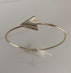 Arrow cuff bracelet, solid 14k, genuine diamonds by LelaBellaDesigns on Etsy