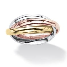 Palm Beach Jewelry PalmBeach Interlocking Rings in Tri-tone Rose Gold-Plated 18k Gold-Plated and Silvertone Tailored
