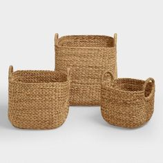 Keep clutter beautifully at bay with our Aimee Arrow Baskets. Handwoven of renewable water hyacinth with an elegant arrow design, they deliver sensible storage and distinctive style.