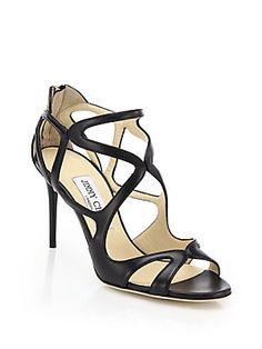 Jimmy Choo Leslie 85 Cutout Leather Sandals -