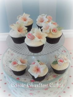 pretty lily and rose cupcakes for my friends daughter Lily-Rose!