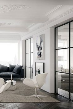 White Swan chairs in a NY residence (image via jessicavedel.com) #interiors #interiordesign #chairs
