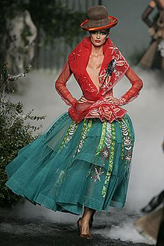 John Galliano for Christian Dior Couture 2005; Red Jacket And Green Skirt Embellished Ensemble