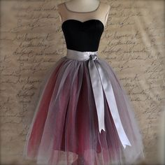 Tulle skirt for women in burgundy and grey by TutusChicOriginals