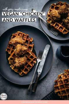 We present to you: the BEST ever vegan chicken and waffles, made with crispy fried cauliflower, mashed potato waffles and hot maple syrup. Hands down the best vegan brunch you'll ever have! Vegan Brunch Recipes, Waffle Recipes, Vegan Desserts, Tofu Recipes, Vegan Food, Breakfast Recipes, Healthy Food, Quick Pickle Recipe, Vegan Breakfast Casserole