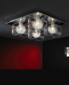 Ceiling lamp of 4 LED lights made of metal, shine chrome finish. Molding glass shades, decorated interior ball with glass filaments. Flush Lighting, Flush Ceiling Lights, Lighting Store, Ceiling Lamp, Wall Lights, Ceiling Lighting, Led, Light Fittings, Interior Lighting