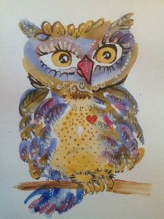ARTFINDER: Golden Crested Wide-eyed Spotty Woot Owl by Lyn Pacific - Cute original tri-color feathered, big eyed Woot owl with engaging personality, yellow spotted breast, a friendly face and looking to hang at some new digs.