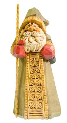 Hand Carved Santa  Wood  Green Robe Christmas by RusticRoadStudio, $225.00