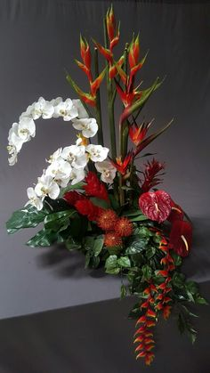 One of three large tropical pieces o did for a new restaurant in laguna beach, ca. Designed by stephanie alva Tropical Flower Arrangements, Modern Floral Arrangements, Christmas Floral Arrangements, Church Flower Arrangements, Funeral Arrangements, Tropical Flowers, Red Hydrangea, Altar Flowers, Deck Decorating