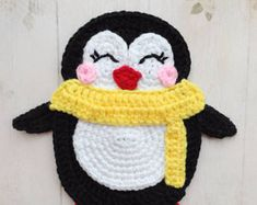 PATTERN Penguin Applique Crochet Pattern PDF Instant Download Arctic Animal Pattern Embellishment Accessories Motif Ornament for baby ENG