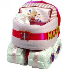 Carrito de Pañales Rosa - Las tarta de pañales para bebés más espectaculares y originales están en lacestamagica.com ¡Visita nuestra Web! canastillas par bebés - cestas para bebes - Regalos Originales y Mucho más...