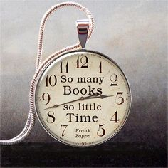 So Many Books, So Little Time book quote pendant, Book jewelry, book lover gift, librarian gift