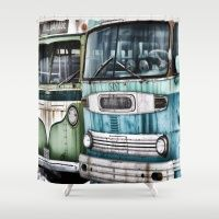 Old Buses Shower Curtain