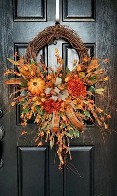 Autumn Wreaths For Front Door, Wreath Fall, Elegant Fall Wreaths, Fall Decor For Porch, Fall Decorating Outside, Fall Door Decorations For Home, Front Stoop Decor, Outdoor Fall Wreaths, Rustic Wreaths