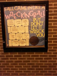 """Wrecking Ball"" themed board from another university."