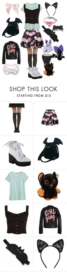 """""""Little Bat Girl"""" by lilcuriosity ❤ liked on Polyvore featuring Hot Topic, WithChic, Iron Fist, Sugarbaby, Calypso St. Barth, Topshop, High Heels Suicide, Morgan Lane, Maison Close and ddlg"""