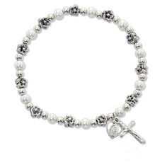 Catholic Girl's First Communion Stretch Bracelet - White Pearl First Communion Stretch Bracelet with Rhodium Plated Miraculous Medal & Crucifix. Stretches to Fit Any Size. MV001 http://www.amazon.com/dp/B00JJXT8XO/ref=cm_sw_r_pi_dp_Z6rnvb0EC2E4S