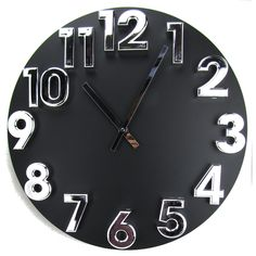 Hsn Black Jumbo Wooden Wall Clock with Raised 3D Bold Chrome Silver Arabic Numbers