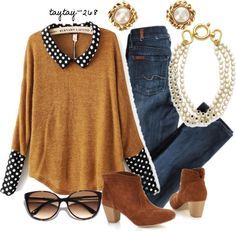 Doll Collar Yellow acrylic polka dot long sleeve pullover style in from indressme. Diy Fashion, Autumn Fashion, Womens Fashion, Runway Fashion, Umgestaltete Shirts, Refashioning, Mode Vintage, Mode Inspiration, Diy Clothes
