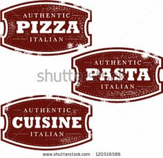 Italian Pizza, Pasta, and Cuisine Stamps by squarelogo, via Shutterstock