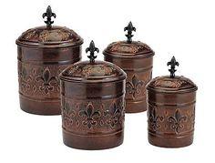 Antique Fleur De Lis Vintage Canister Set For Kitchen Flour Sugar Coffee Tea Jar | Canisters & Jars | Kitchen Storage & Organization - Zeppy.io