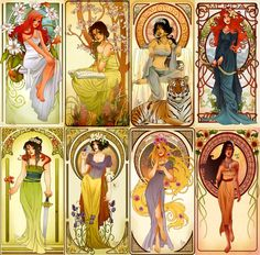 art nouveau disney princesses | Disney Nouveau - The Princesses of Rebirth, Ambition, Passion ...