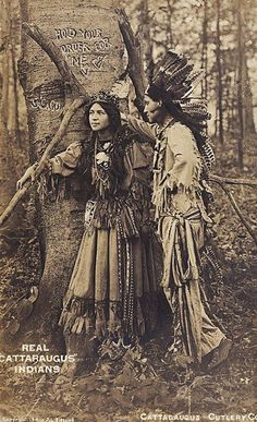 Ah-Weh-Eyu (aka Pretty Flower) with unidentified man - Iroquois (Seneca) - circa 1910