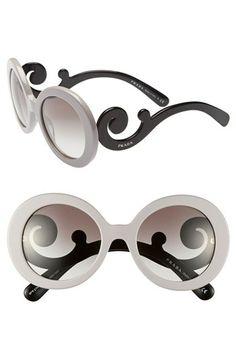 Prada 'Baroque' 55mm Round Sunglasses