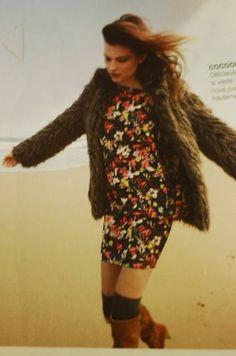 robe à fleur + veste en fourrure
