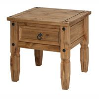 Mexican Lamp Table (Corona Range)    Pine with a lightly distressed wax finish  Self assembly  54(w) x 54(d) x 55(h) cm  This Mexican-style corona end table has a lovely wax, pine finish, giving your home a country style finish.