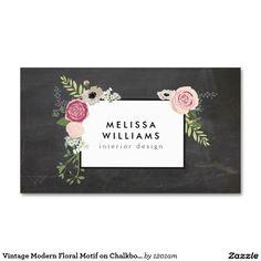 Adorno floral moderno del vintage en diseñador de tarjetas de visita