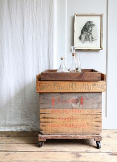 bar cart. Amber this would be cool out of your wine crates and added wheels.
