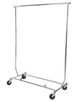 Collapsible Clothing Rack with Casters and (2) Hang Rails - Chrome