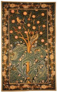 Woodpecker without Verse Tapestry, Woven in France. Steeped in history the Woodpecker without Verse Tapestry was originally designed by William Morris in Based on the poem, Picus it shows how the Italian King was transformed into the beautiful woodpecker. Medieval Tapestry, Medieval Art, Tree Of Life Tapestry, William Morris Patterns, Tapestry Design, Objet D'art, Arts And Crafts Movement, Art Design, Shape Design