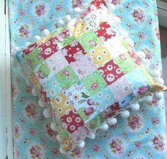Patchwork Pillow w/ Pom-Pom's by Nesha's Vintage Niche, via Flickr