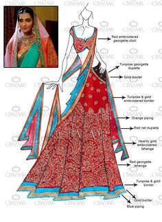 Lehenga Choli - Buy breathtaking lehenga choli design for wedding, party or festive occasions online from Cbazaar's latest collection of bridal, party, and festive wear lehenga. Dress Design Sketches, Fashion Design Drawings, Fashion Sketches, Fashion Drawing Dresses, Fashion Illustration Dresses, Fashion Illustrations, Lehenga Online Shopping, Croquis Fashion, Choli Designs