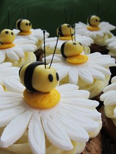 cute daisy cupcakes with bumblebees. Also gives tutorial on how to make bunny butts cute daisy cupcakes with bumblebees. Also gives tutorial on how to make bunny butts Daisy Cupcakes, Spring Cupcakes, Easter Cupcakes, Yummy Cupcakes, Cupcake Cookies, Cupcake Toppers, Mocha Cupcakes, Gourmet Cupcakes, Strawberry Cupcakes
