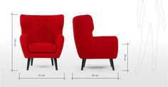 Kubrick, un fauteuil bergère, rose rouge   made.com