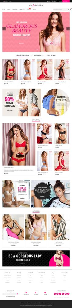 Champions is a premium Magento theme with advanced admin module. It's extremely customizable, easy and fully responsive. Suitable for every type of store. #Lingerie #store #template