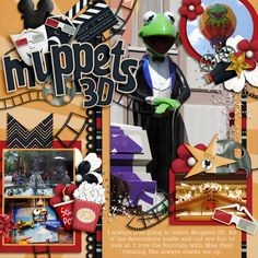 Muppets 3D - digital page layout, great use of elements and focal photo