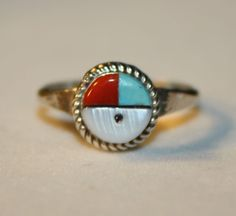 ZUNI VINTAGE 925 STERLING SILVER MOP TURQUOISE CORAL SUNFACE RING SIZE 6.25