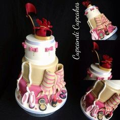 A cake with fashion elements and a miniature pair of ballet slippers topped with a gumpaste shoe