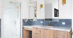 Wood Vanity, Vanity Sink, Kitchen Cabinet Kings, Dark Color Palette, Recessed Ceiling Lights, Floating Vanity, Transitional Bathroom, Plumbing Fixtures, Shower Enclosure