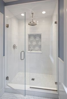 Bathroom shower tile ideas are a lot in choices. Grab some inspirations here and check out these shower tile ideas to revamp your old bathroom shower! Master Bathroom Shower, Upstairs Bathrooms, Bathroom Renos, Bathroom Renovations, Modern Bathroom, Bathroom Shower Remodel, Shower Ideas Bathroom, House Renovations, Bathroom Vanities