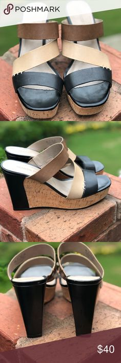 52ecd5122c41 Franco Sarto Leather  amp  Cork Wedge Sandal Franco Sarto Leather and Cork Wedge  Sandal Used