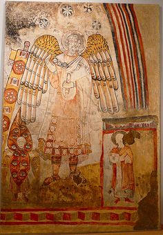 The glory of the Christ with the seraphin, saint archangelo Michael and the diacom. Tempera, Fresco, Mural Painting, Paintings, Angel Hierarchy, Order Of Angels, Orthodox Icons, Sacred Art, Christian Art