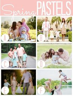 What to wear for spring family photos: Spring pastels! Adult Family Photos, Spring Family Pictures, Family Pictures What To Wear, Spring Photos, Family Portraits What To Wear, Family Posing, Family Picture Colors, Family Picture Outfits, Quoi Porter