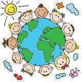 Illustration about Multinational kids heads in a circle around the earth. Illustration of friends, character, friendship - 28976760 Daycare Logo, Church Nursery Decor, Culture Day, Environment Painting, Kindergarten, Green School, School Decorations, Kids Logo, Day Care